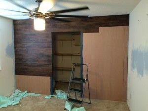 Faux wood wall. DIY peel and stick laminate planks. Who said they have to go on floors? | Pixie ...