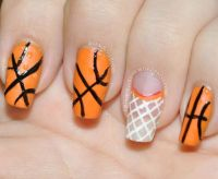 Orange basketball and net nail art design 31dc2013 | Nails ...