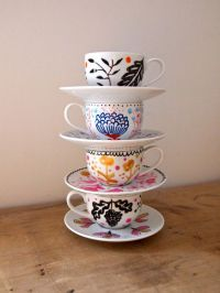 Hand painted mini tea cup and saucer   Tea Cups, Hand ...