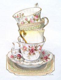 Vintage Tea Cups Stacked | www.imgkid.com - The Image Kid ...