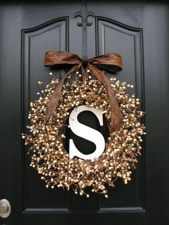 monogrammed front door wreaths