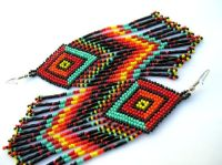 Rainbow Colored Fringed Brick Stich Seed Beaded Earrings ...