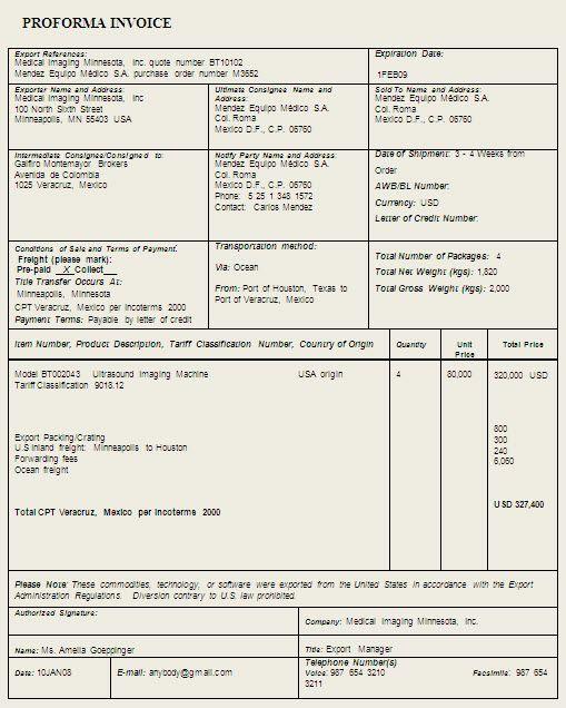 Free Proforma Invoice Templates 8 Examples Wordexcel Proforma Invoice Template Sample Format Example Brochure