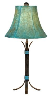 Turquoise Accent Southwest Iron Table Lamp with Shade - A ...