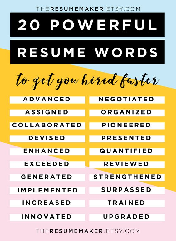 resume power words pinterest