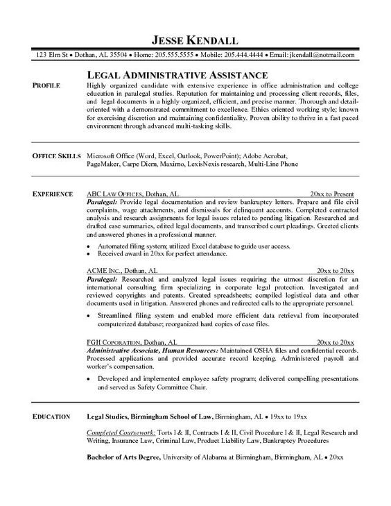 Corporate Legal Secretary Resume Sample Legal Secretary Resume Job