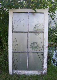 antique window with etched glass vinyl dandelion design