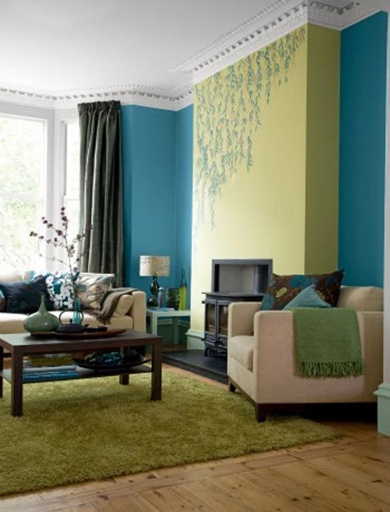 Blue and green living room ideas... check out the
