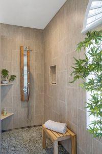 Modern Zen Bath Remodel - bamboo print tile, pebble floor ...