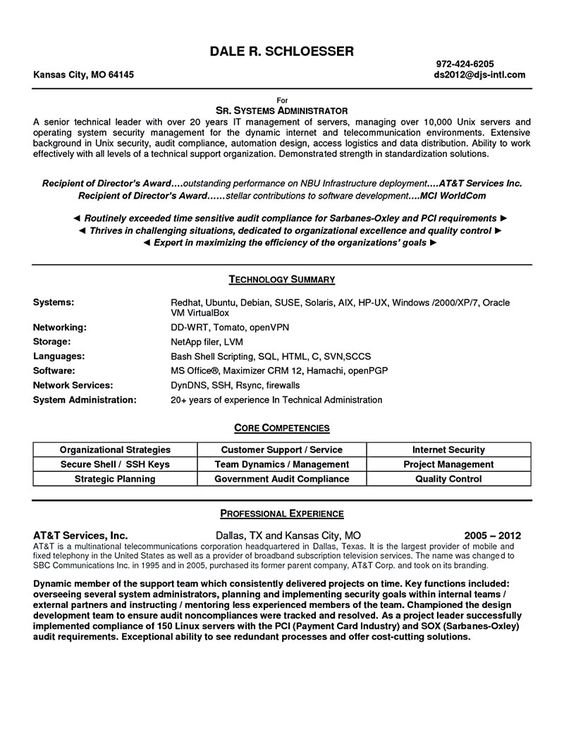 Linux system administrator resume, system administrator resume - linux administrator resume