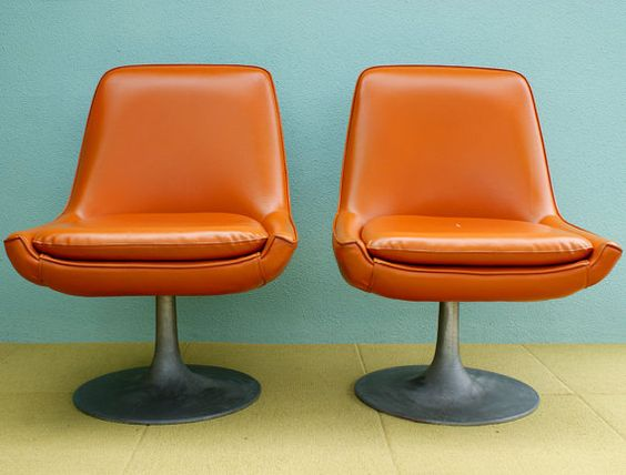 Retro Orange Vinyl Sofa Vintage Orange Vinyl Pedestal Chairs | Chair Love