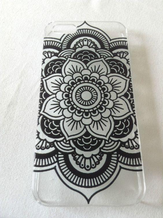 Iphone 5 Cover Hülle Schale Blumen Henna Handy