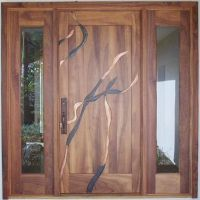 Beautiful koa wood custom door with metal inlay work in ...