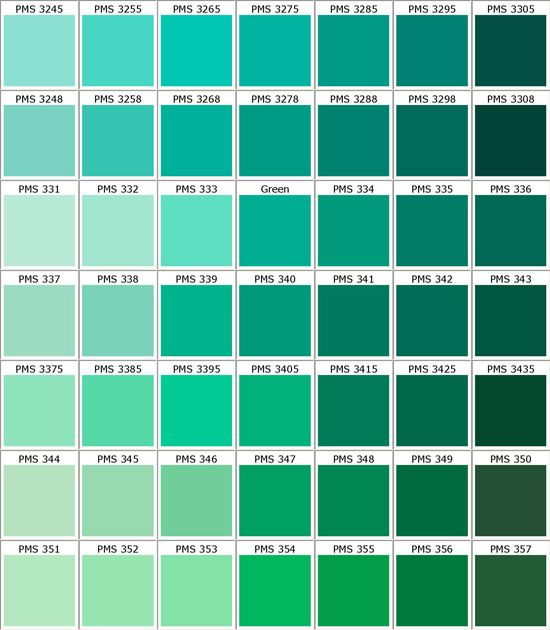 Pantone Greens  My Favorite Color Palette In The Whole Wide