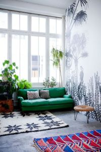 Emerald green sofa against super cool black and white ...