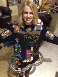 Ugly Christmas sweater with train, chimney, fireplace ...