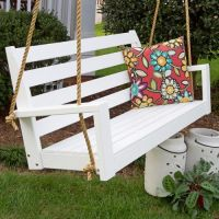 Porchgate Amish Made Tisbury White Patio Swing With Ropes ...