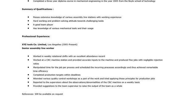 assembly line. Resume Example. Resume CV Cover Letter