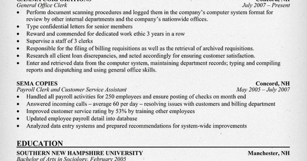 sample resume for office assistant from prison
