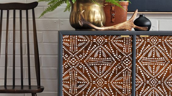 Sideboard Cabinet Tribal Batik Furniture Stencil | Patterned Furniture