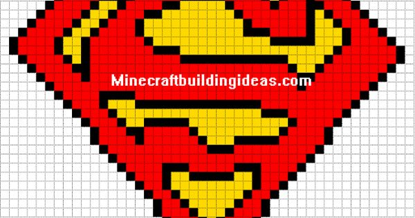 Mario Bügelperlen Minecraft Pixel Art Templates: Superman Logo | Pixel Art