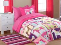 5pc Girl Pink Purple Horse Pony Twin Comforter Set (Bed in ...