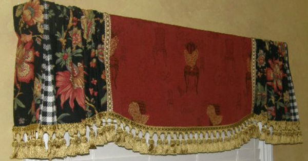 Roman Shades With Curtains Custom Valance French Country Red Gold Rooster Tapestry