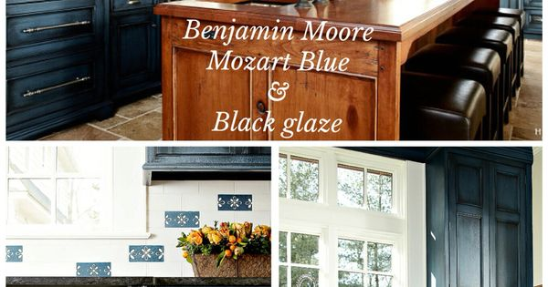 "Brick Kitchen Cabinets Benjamin Moore ""mozart Blue"" With Black Glaze Done By"