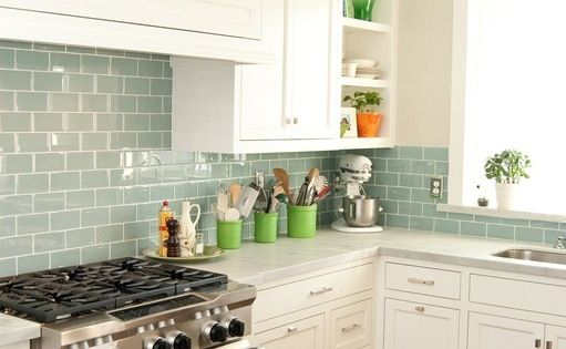 White Kitchen Cabinets And Green Backsplash Surf Glass Subway Tile | Subway Tiles, Sea Glass And Tiling
