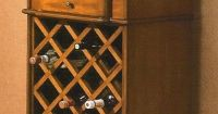 Brown wood finish wine cabinet server hutch bar unit ...