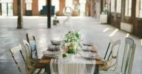 cheesecloth runner, table setting | h o m e | Pinterest ...