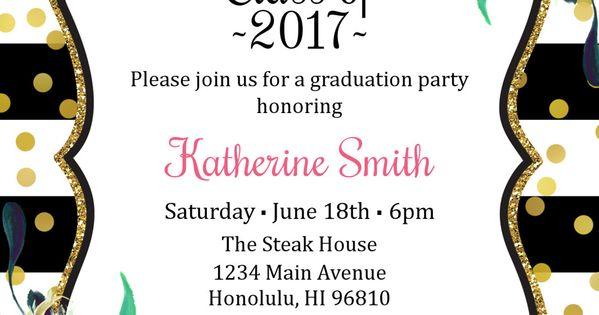 print at home graduation party invitations