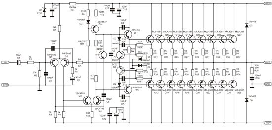 simple high power audio amplifier circuit