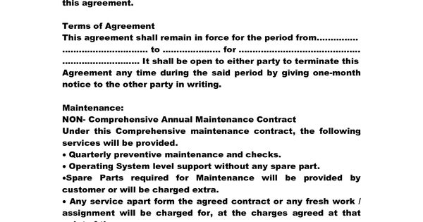 Service Contract Sample Printable Sample It Services Contract – Maintenance Contract Template