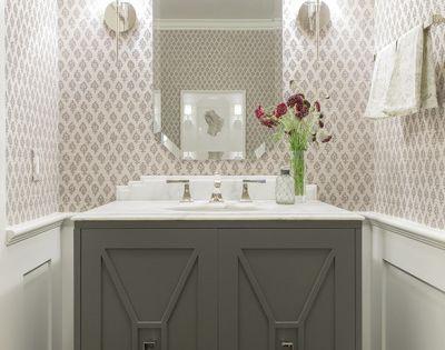 custom vanity, wainscoting, wallpaper, sconces | Powder Rooms | Pinterest | Custom vanity ...