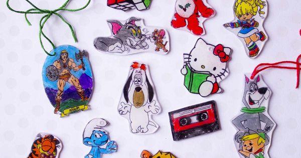 80s shrinky dink christmas ornaments