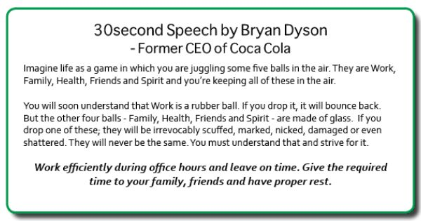 Dyson Air 30 Second Speech By Bryan Dyson - Former Ceo Of Coca Cola