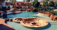 Inground pool with stepping stones to fire pit | Backyard ...