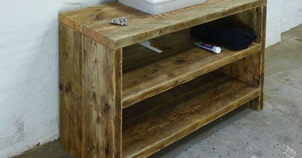 Wasch-Tisch aus aufgearbeitetem Bauholz, Konsole Rustic - badezimmer konsole