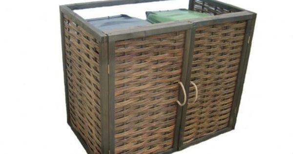 double woven willow wheelie recycling bin screen store
