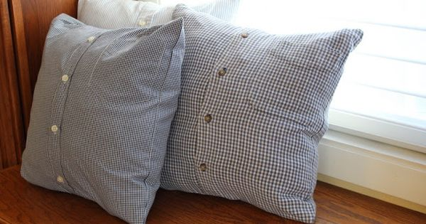 Snuggling On Sofa Memory Pillows Using Dad's Shirts | My Sewing | Pinterest