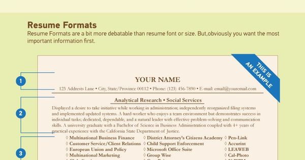 font and size for resumes