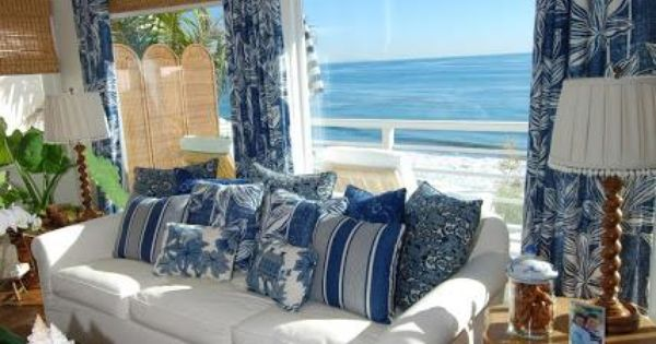 The rattan furniture blue and white living room