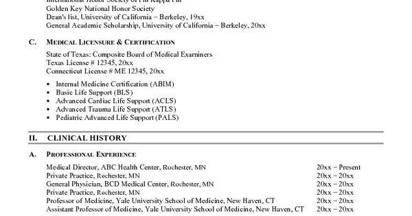 curriculum vitae samples medical professional resumes example online