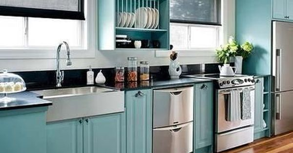 Painted kitchen cabinets teal painted ikea kitchen