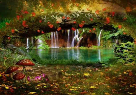 3d Mushroom Garden Wallpaper Download Enchanted Waterfall Google Search Tattoos Pinterest