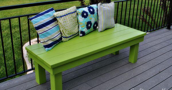 Outdoor handmade wood bench craft decking and diy ideas