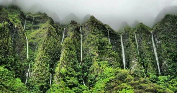 Falling Matrix Wallpaper Waterfalls Appear Along The Koolau Mountain Range After
