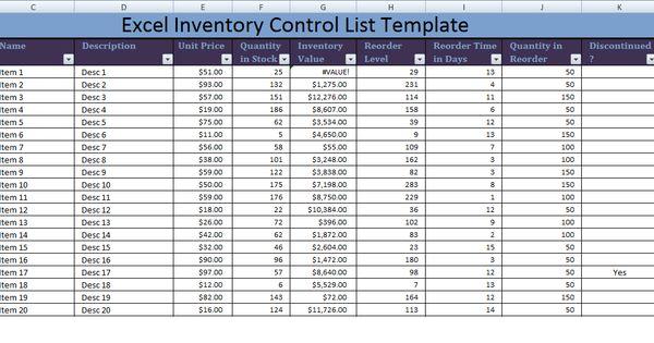 inventory form excel