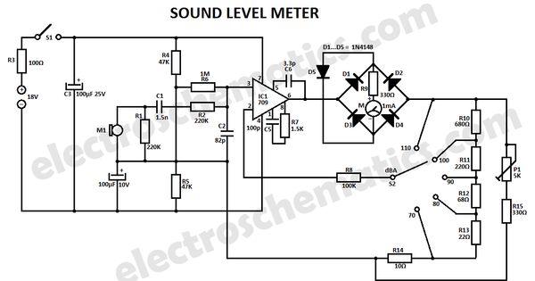 sound level meter electronic circuit diagram